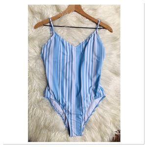 Malibu Dream Girl Blue White Striped Swimsuit M